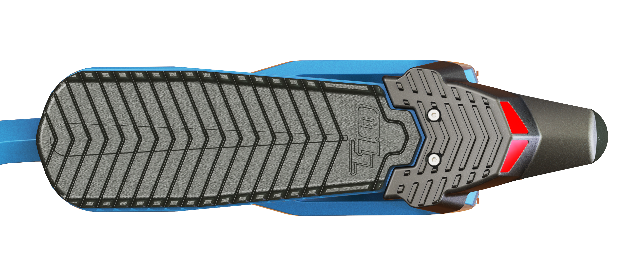 Closeup of foot deck on blue T10 Roadster