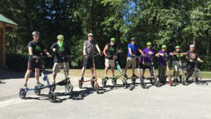 Trikke riders pose for a photo before the 9th annual Seymour Hill Climb Challenge