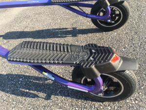 Closeup of Trikke T10 left foot deck and tire